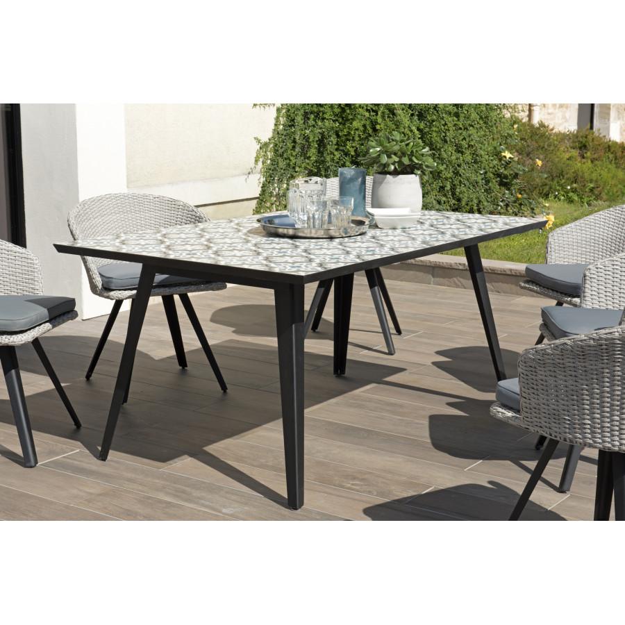 table de jardin 4 6 personnes rectangulaire 162x102 cm plateau carreaux de ciment pieds noirs en metal