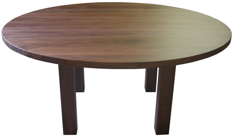 Table Ronde Pieds Carrs Noyer Naturel 100 Massif