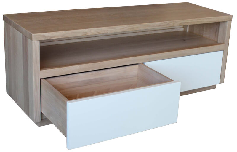 Buffet TV 2 tiroirs 1 niche Noyer naturel