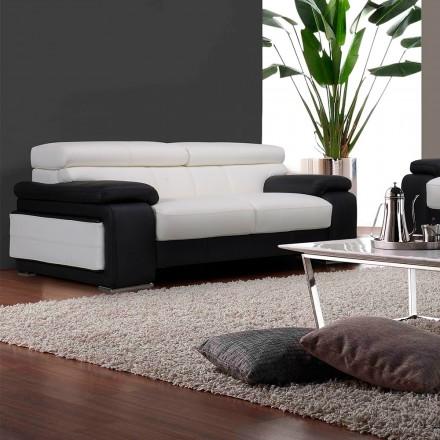canape 2 places cuir noir et blanc baldwin