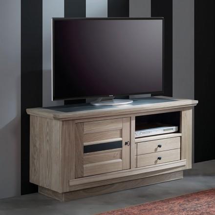 meuble tv 120cm beline chene massif blanchi