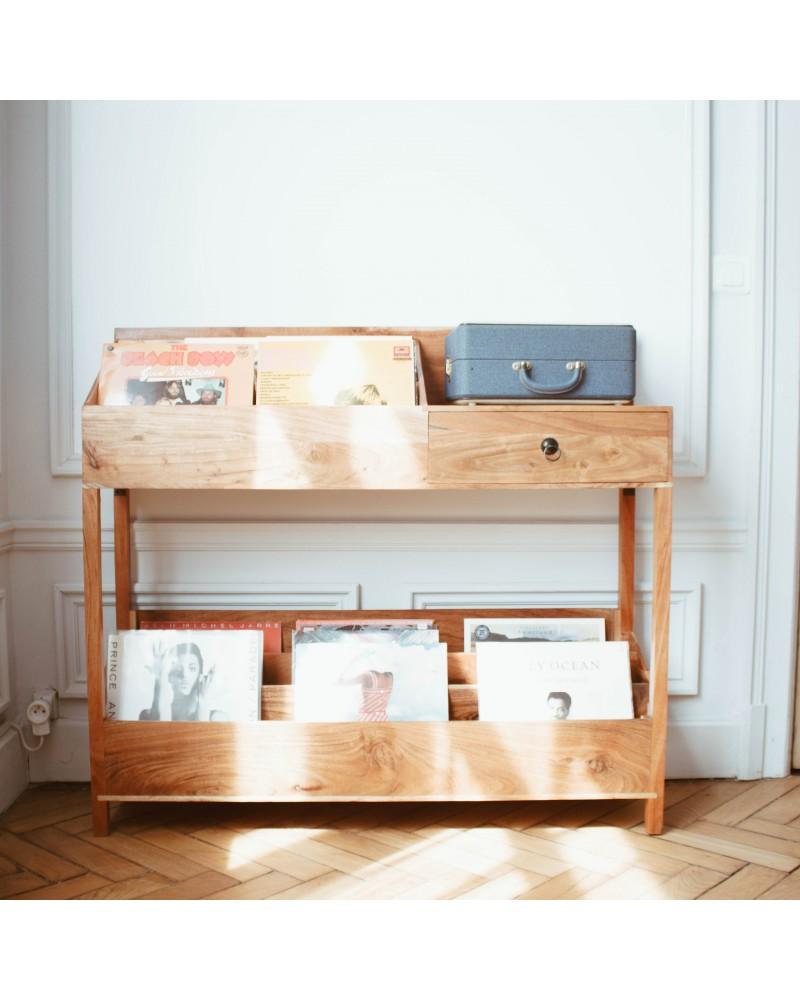 rangement vinyle bois meubles vinyles