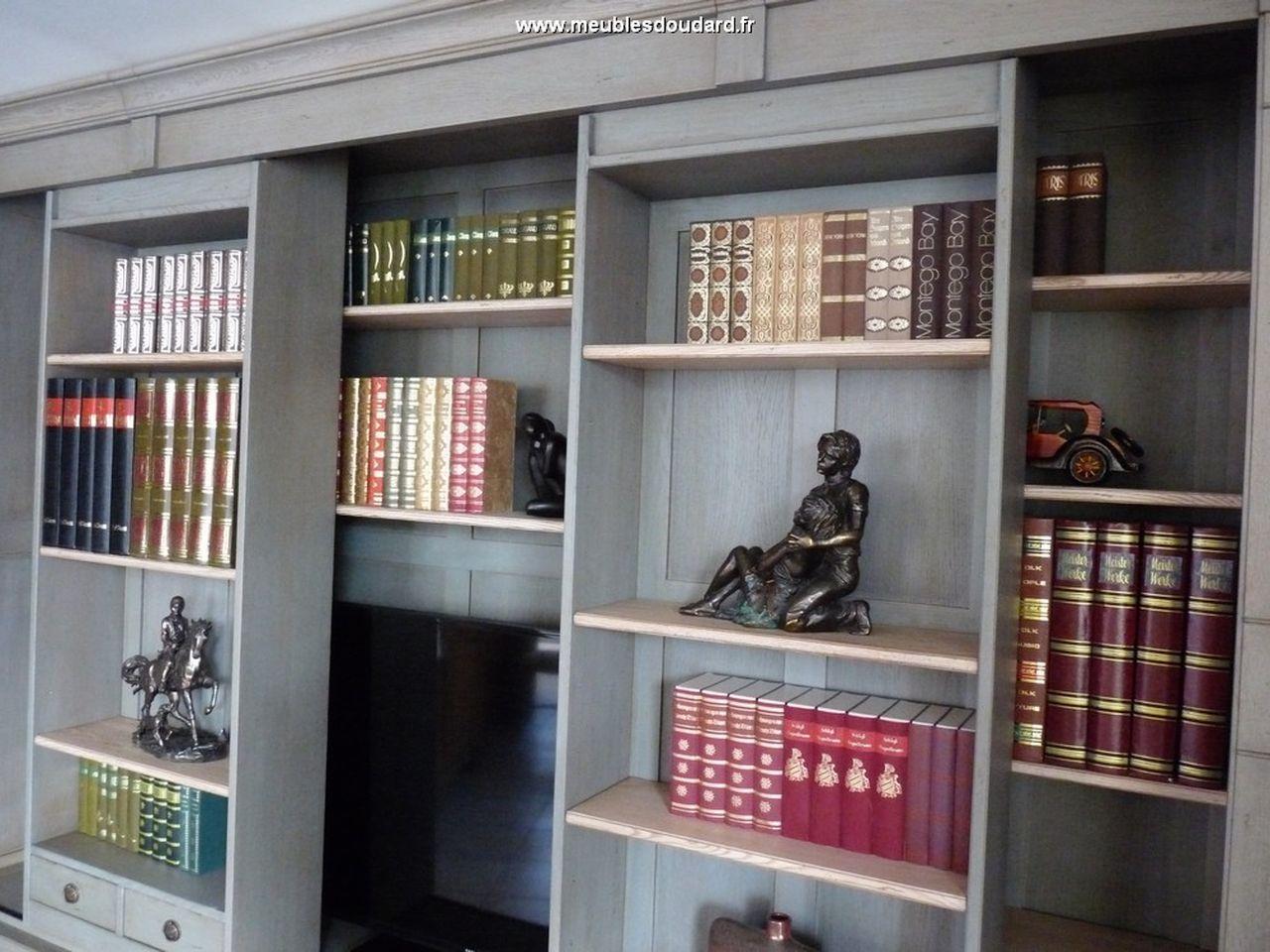 meuble tv bibliotheque en bois massif bibliotheque tv directoire chene ref dh