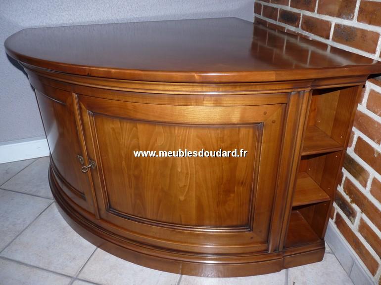 meuble tv d angle encoignure merisier galbee ref go fl 1081