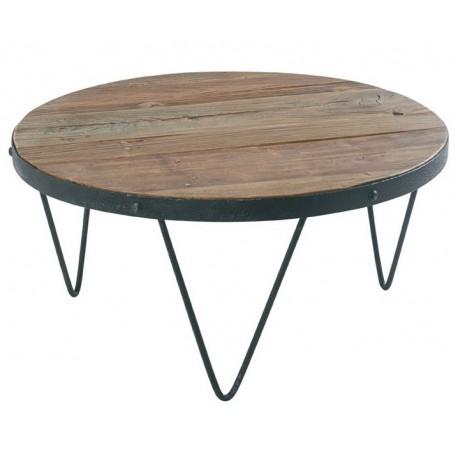 table basse ronde loft cross bois et fer casita
