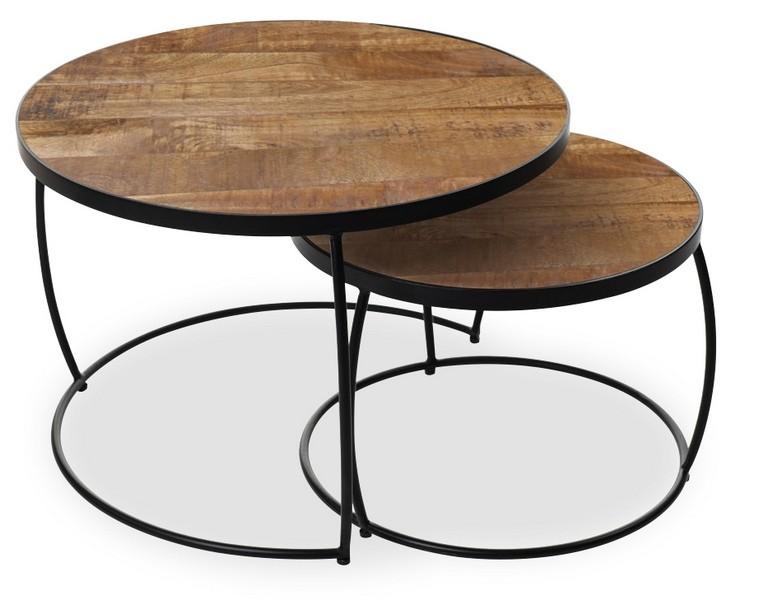 set de 2 tables basses rondes bois exotique et metal