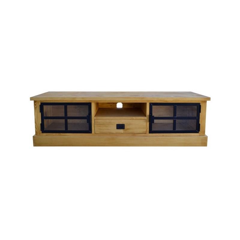 meuble tv 1 80m 2 portes metal vitrees bois et fer
