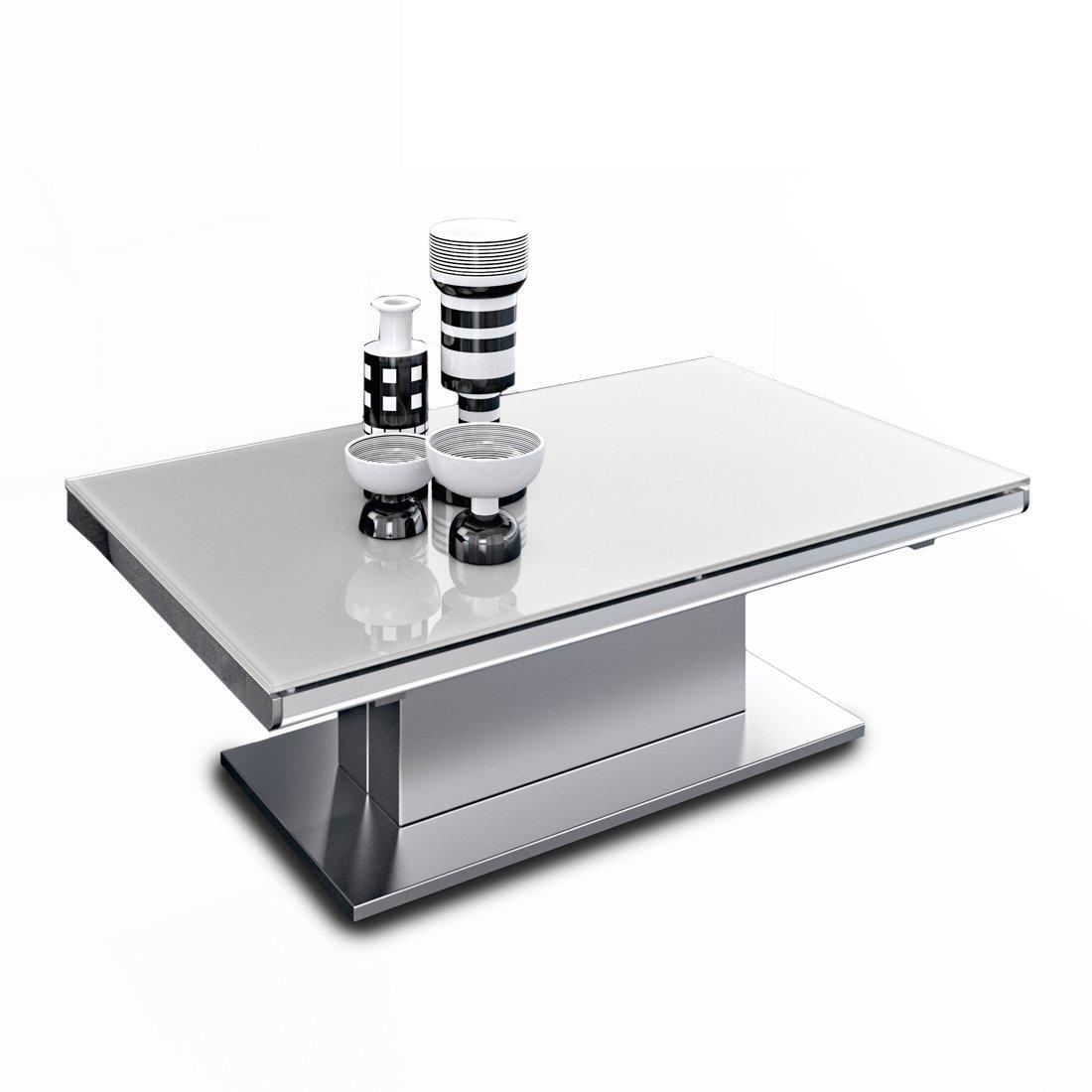 table basse relevable verre acier