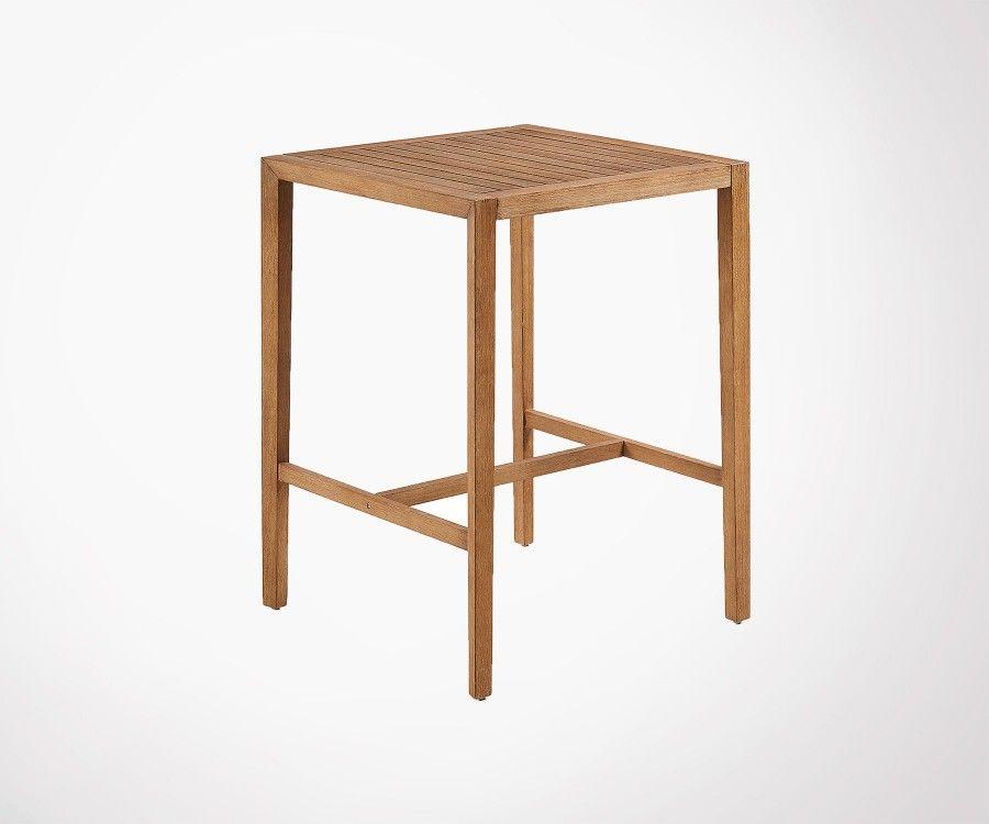 petite table haute carree bois massif int ext 80x80cm style moderne