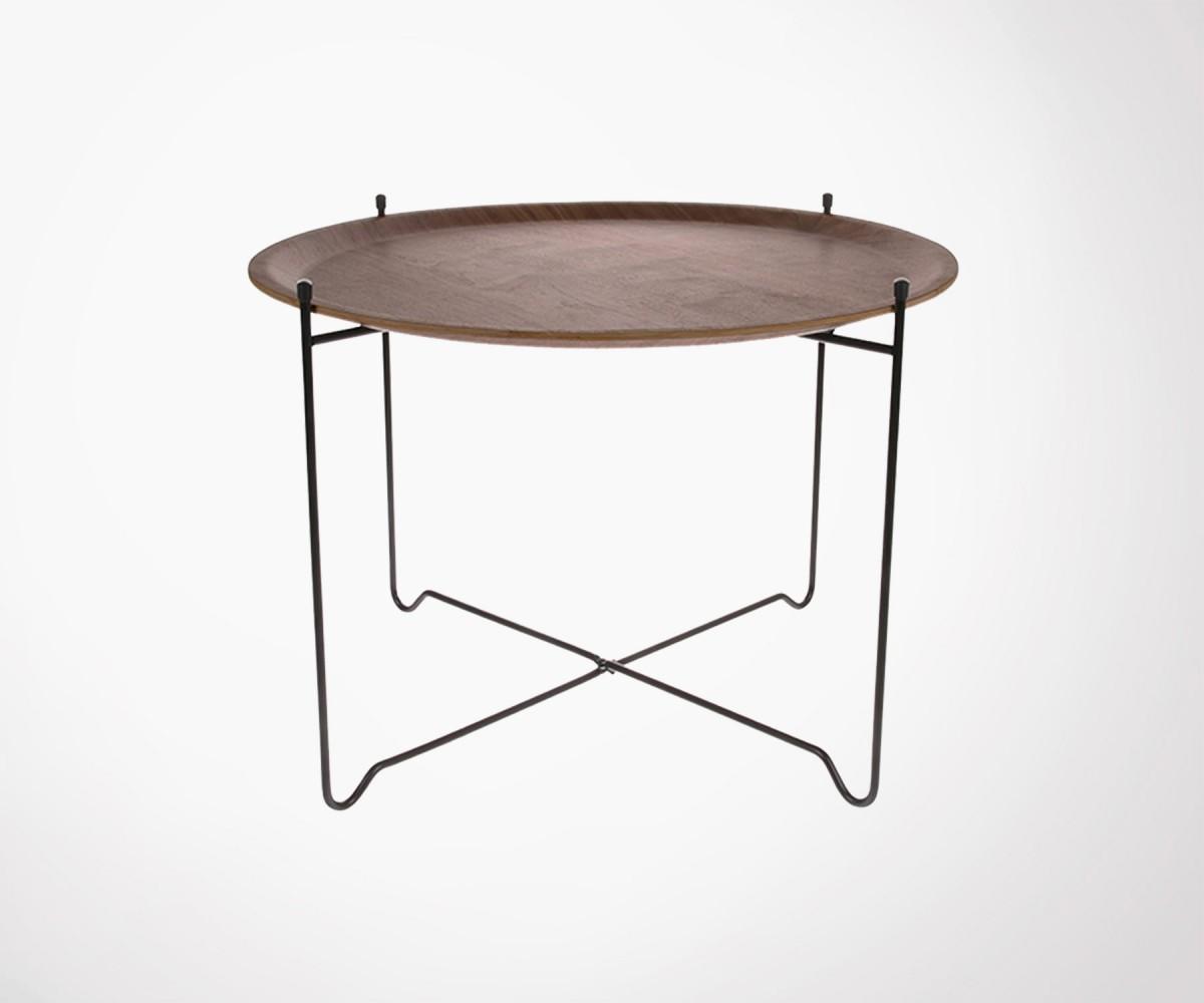 table basse metal noir plateau amovible noyer joey hk living