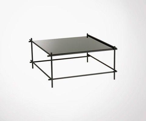grande table basse metal et verre noir gelz