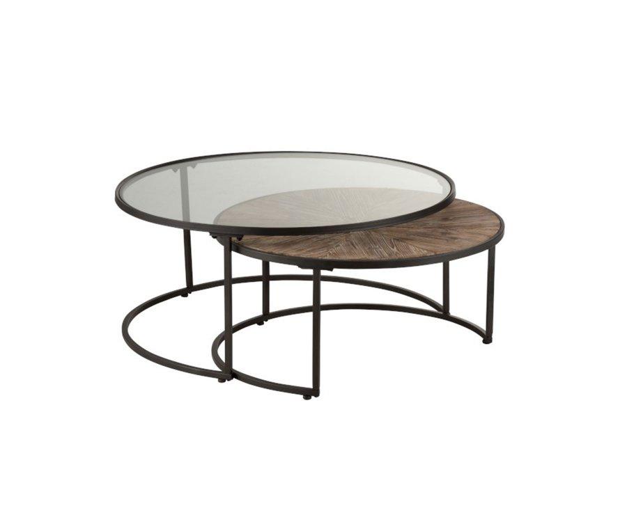 tables gigognes rondes metal et verre style exotique maria