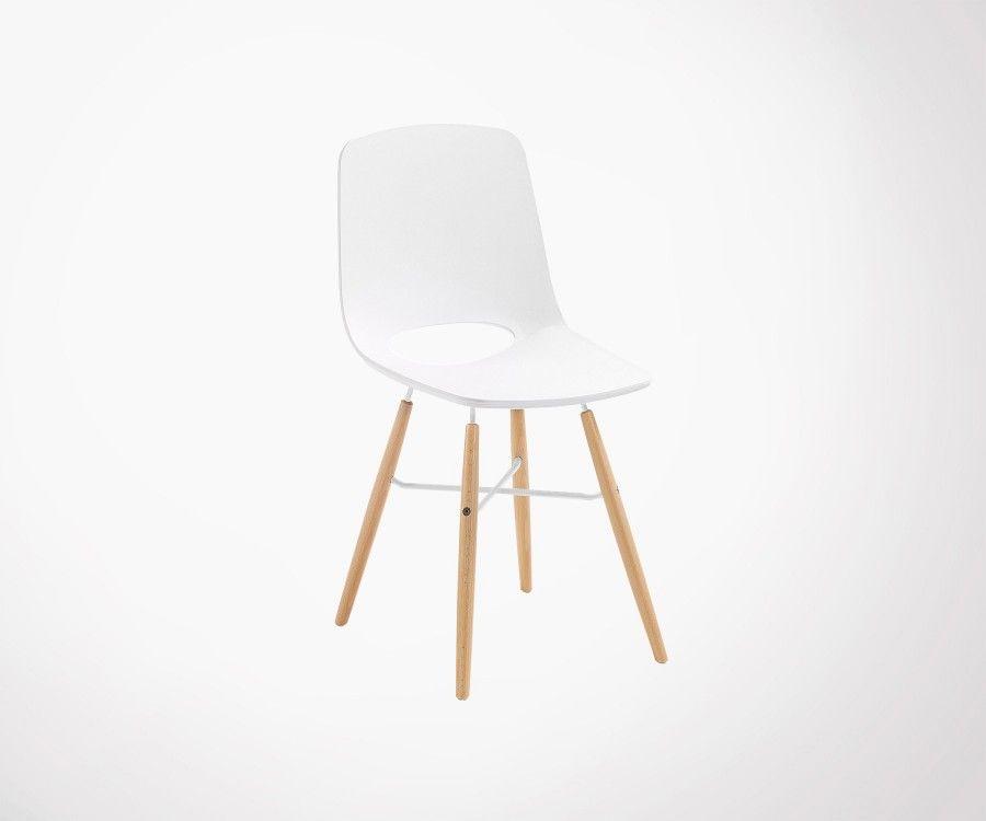 Chaise design blanche salle  manger pieds bois