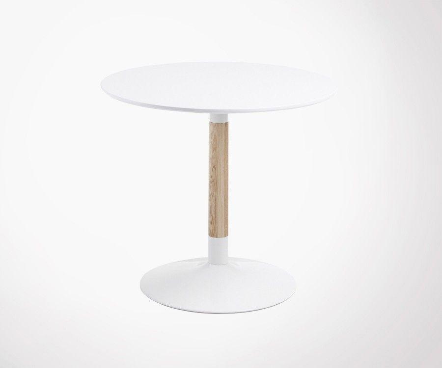 table ronde 4 personnes 90cm en bois blanc et naturel