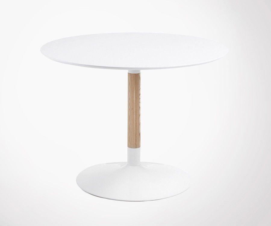 table 6 personnes 110cm ronde style moderne en bois et metal