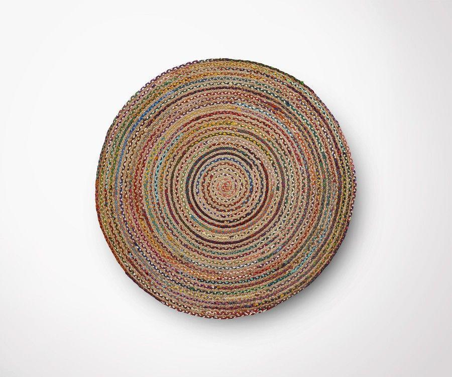 tapis rond jute multicolor 100cm diametre style moderne ethnique