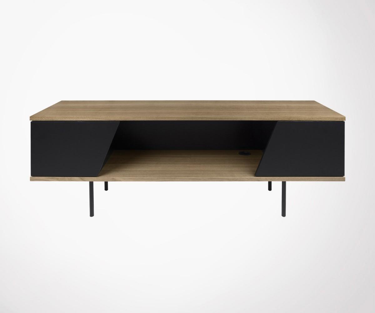 meuble tv 1 niche 2 portes bois metal style moderne dixie