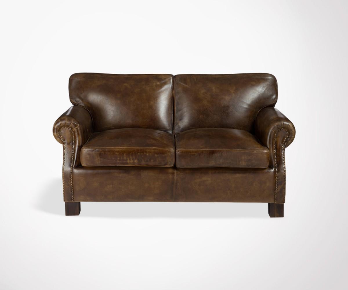 2 seater brown sofa miami dark leather vintage look j line