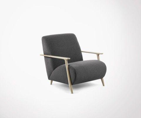 fauteuil design lounge tissu gris et bois martini