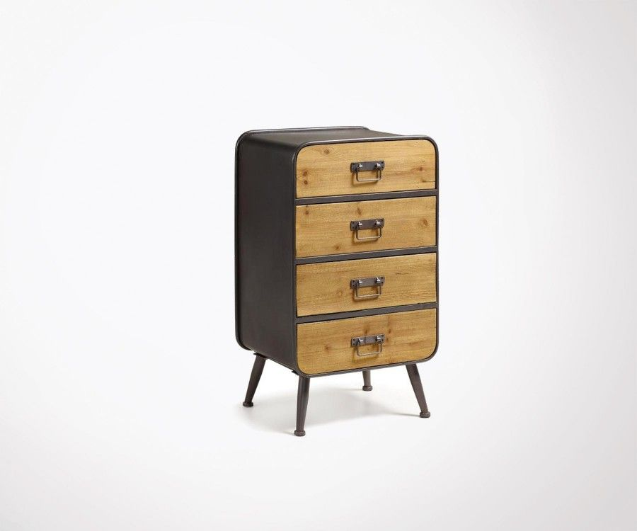 commode bois metal gris guillaume