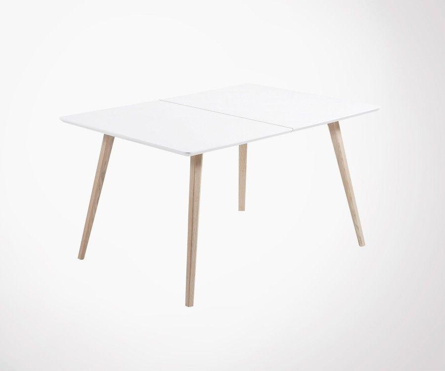 table a manger extensible 140 220cm bois de frene mdf blanc mat