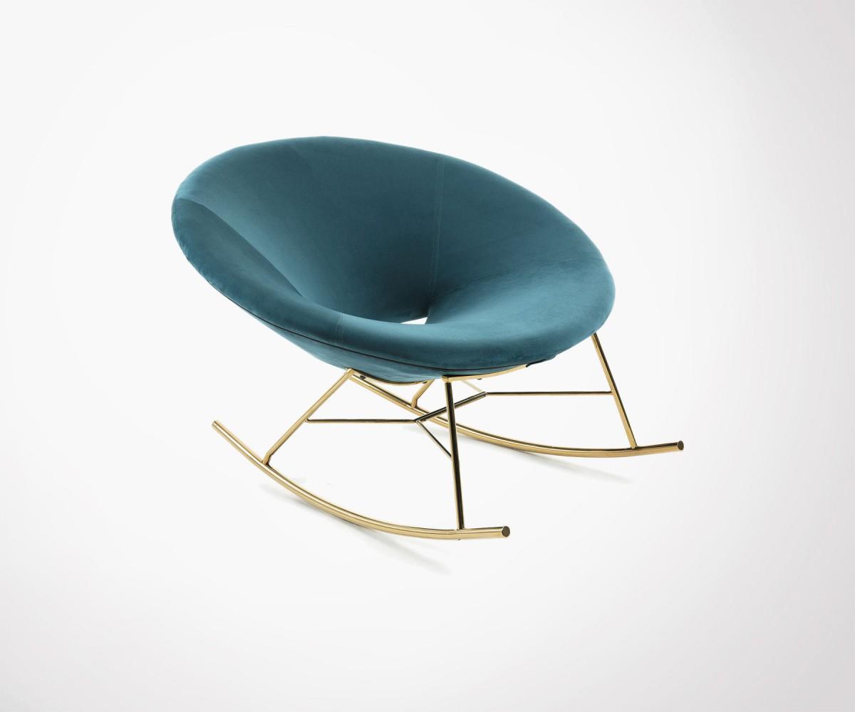 Chaise  bascule velours vert pieds dors style moderne