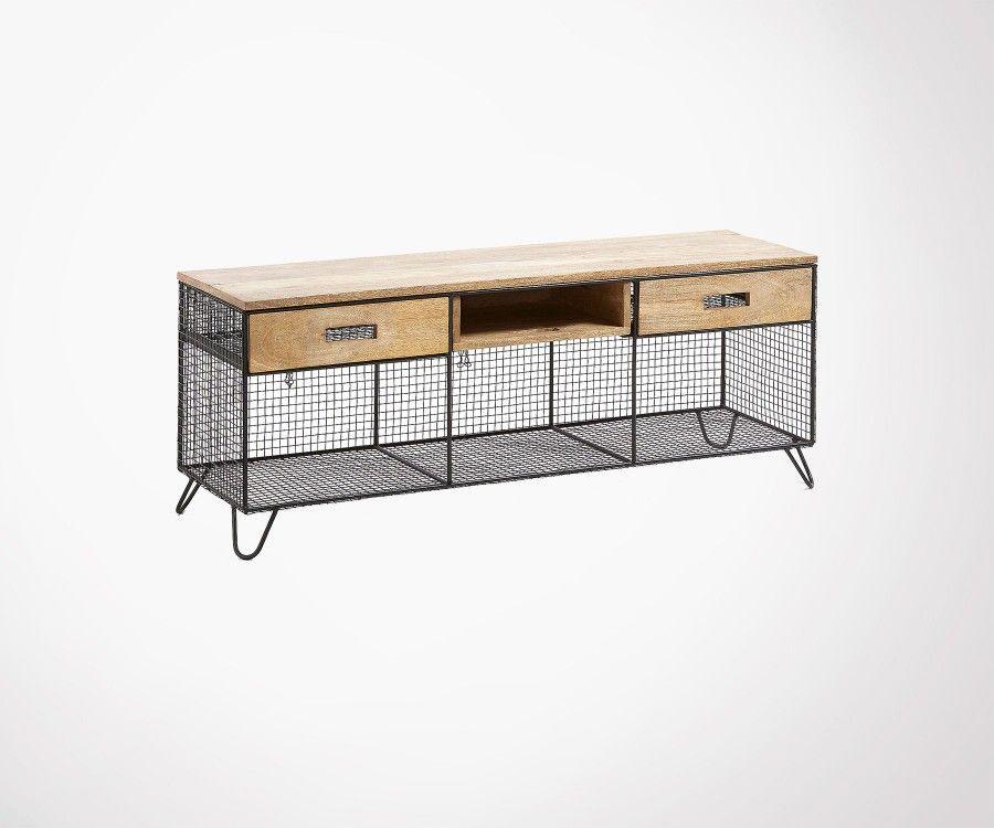 meuble tv bois de manguier metal grillage noir 121cm style industriel