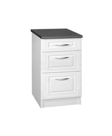 meuble cuisine bas 3 tiroirs 60cm blanc dina