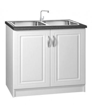 meuble cuisine sous evier 2 portes 90cm blanc dina