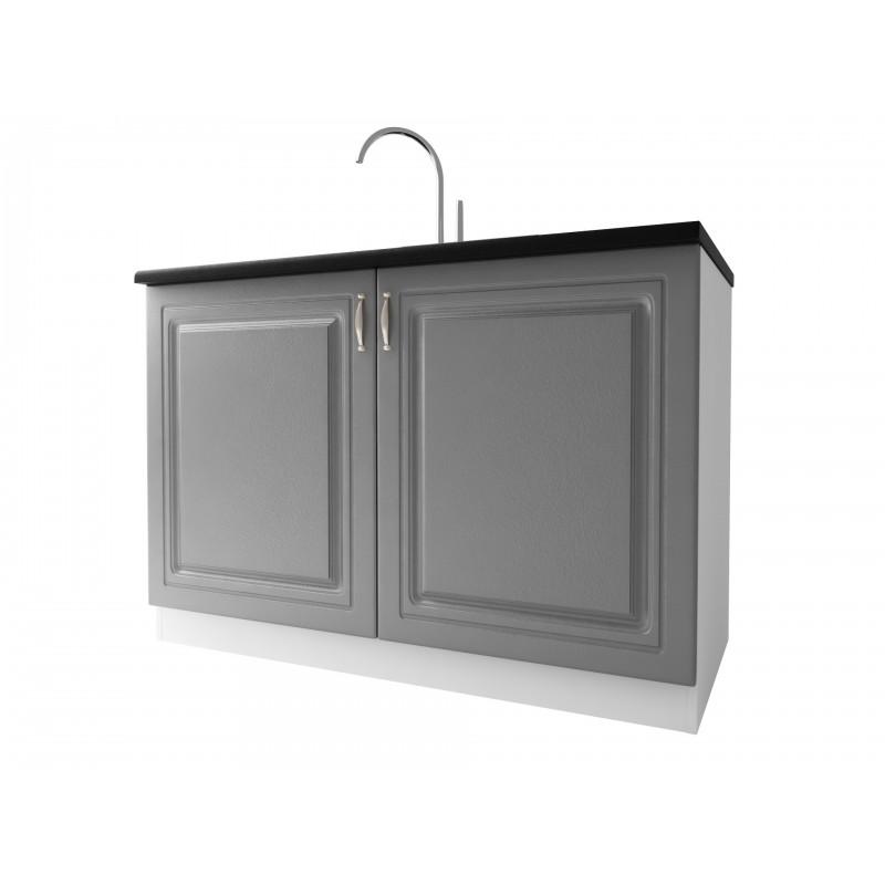 meuble cuisine bas sous evier 2 portes 120cm dina
