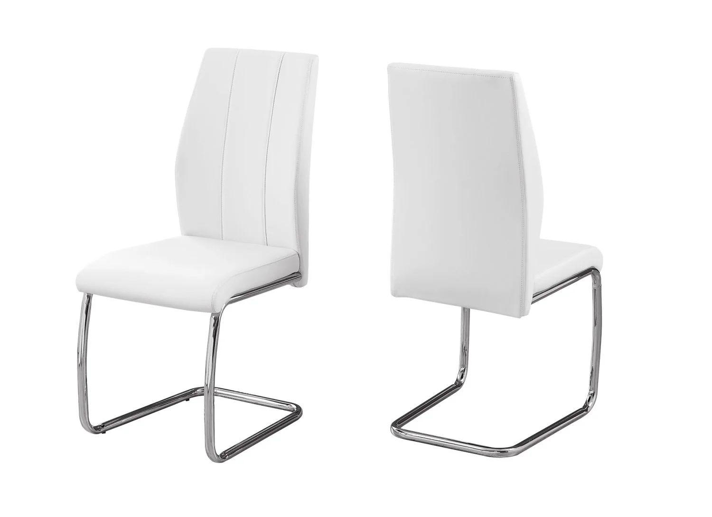 chaise 2pcs 39 h simili cuir blanc chrome