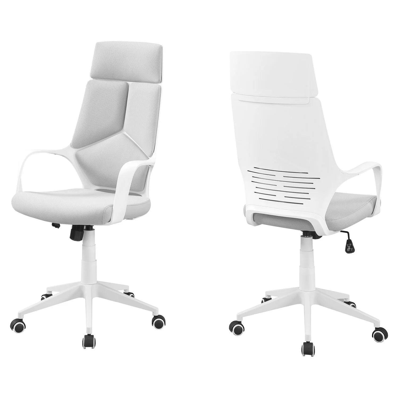 chaise de bureau blanc tissu gris dossier executif