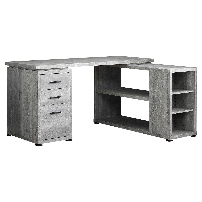 computer desk grey reclaimed wood l r facing corner