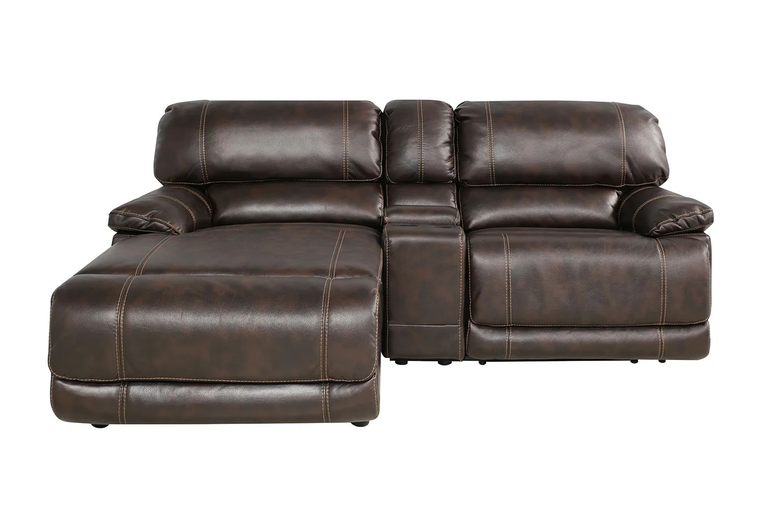 3 piece reclining sectional left side chaise console