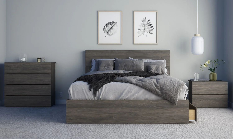 elephant 4 piece queen size bedroom set bark grey