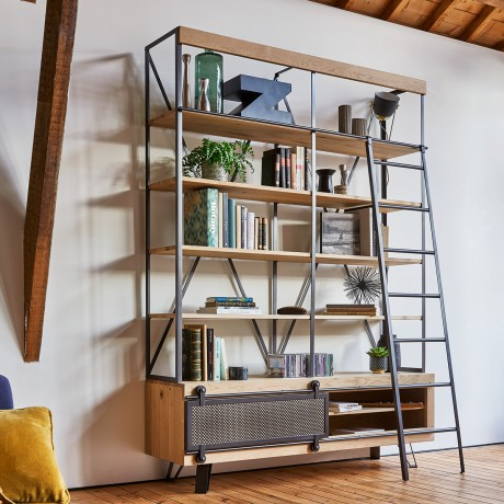 bibliotheque atelier fusion etageres 1 porte coulissante metal