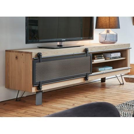 meuble tv fusion moyen modele style atelier fusion 1 porte coulissante metal