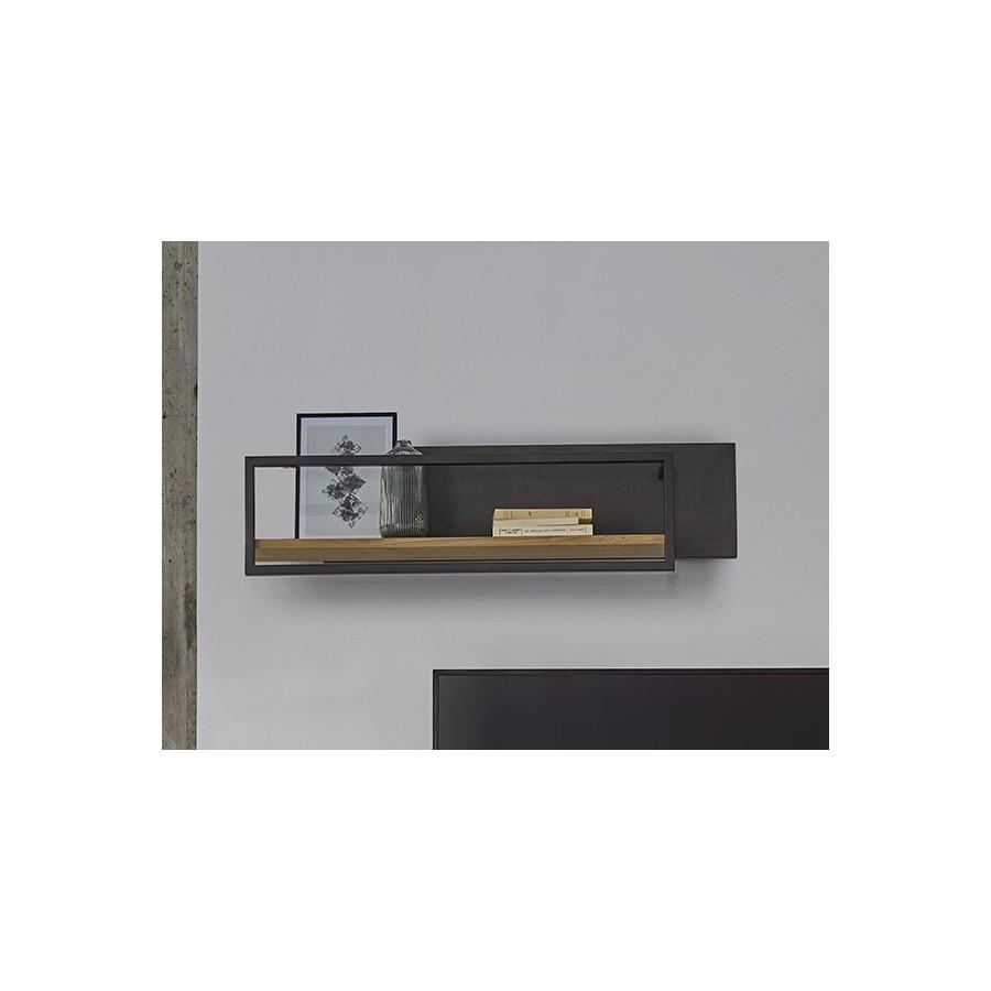 etagere murale brooks horizontale chene metal et beton