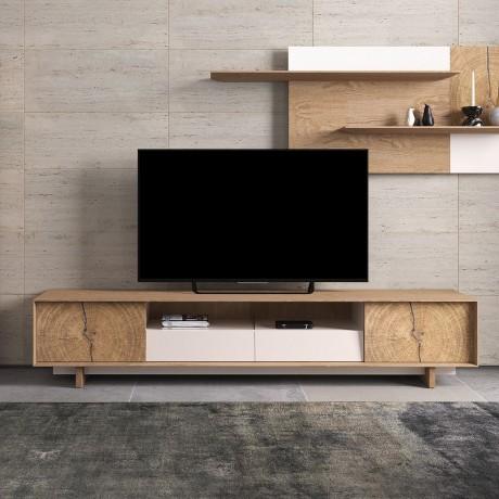 meuble tv bas naura 260 cm chene et laque