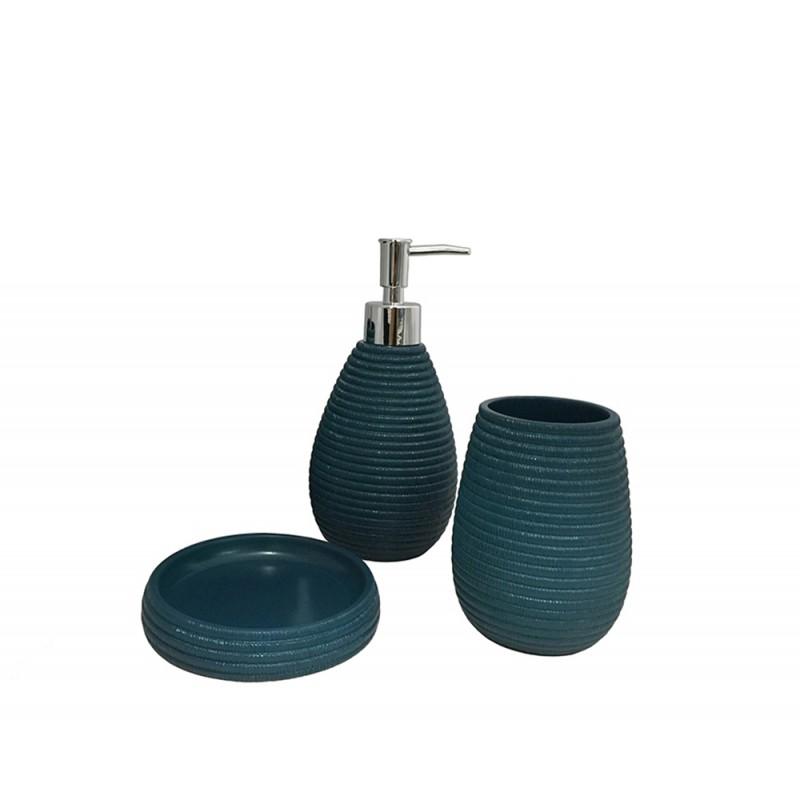 set 3 accessoires salle de bain bleu tania