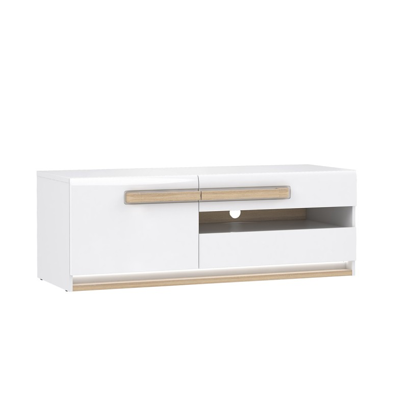 meuble tv blanc laque et decor chene naturel alexiane