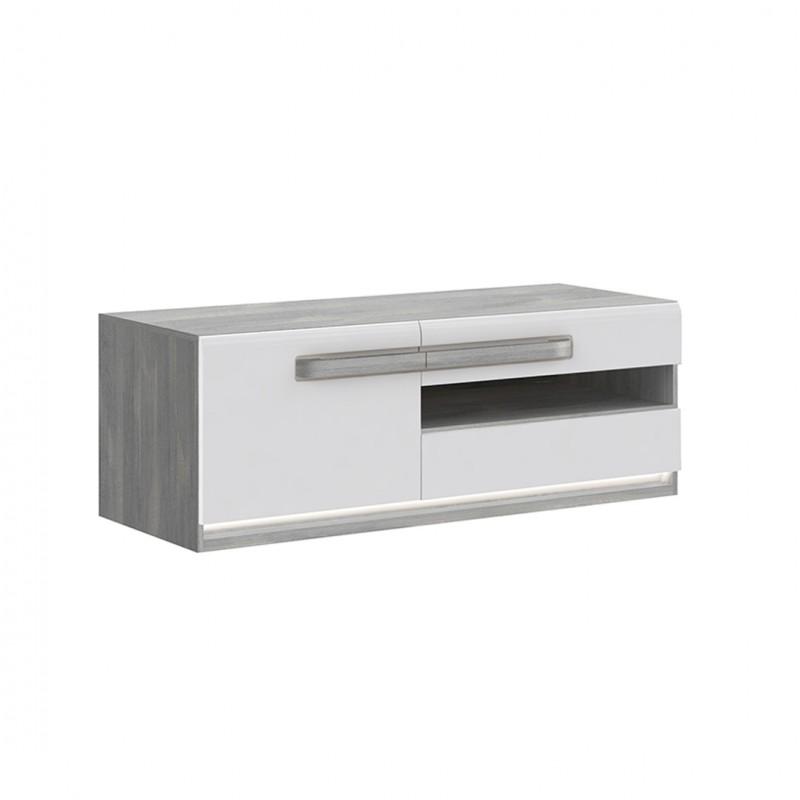 meuble tv blanc laque et decor chene gris alexiane