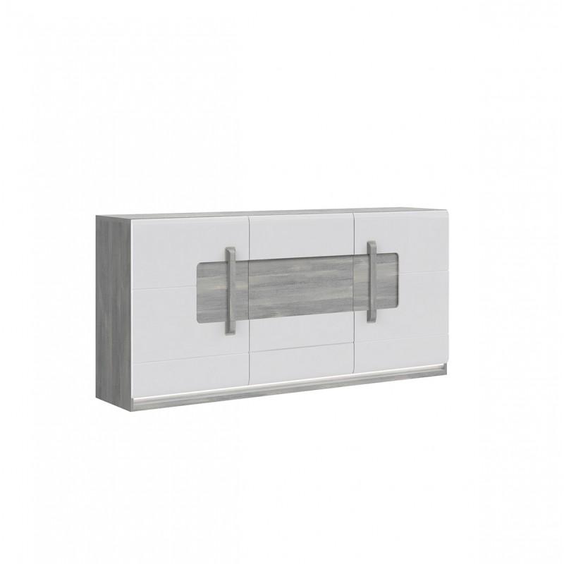 buffet 3 portes blanc laque et decor chene gris avec eclairage led
