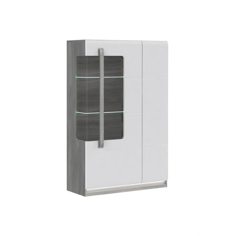 vitrine 2 portes blanc laque et decor chene gris alexiane