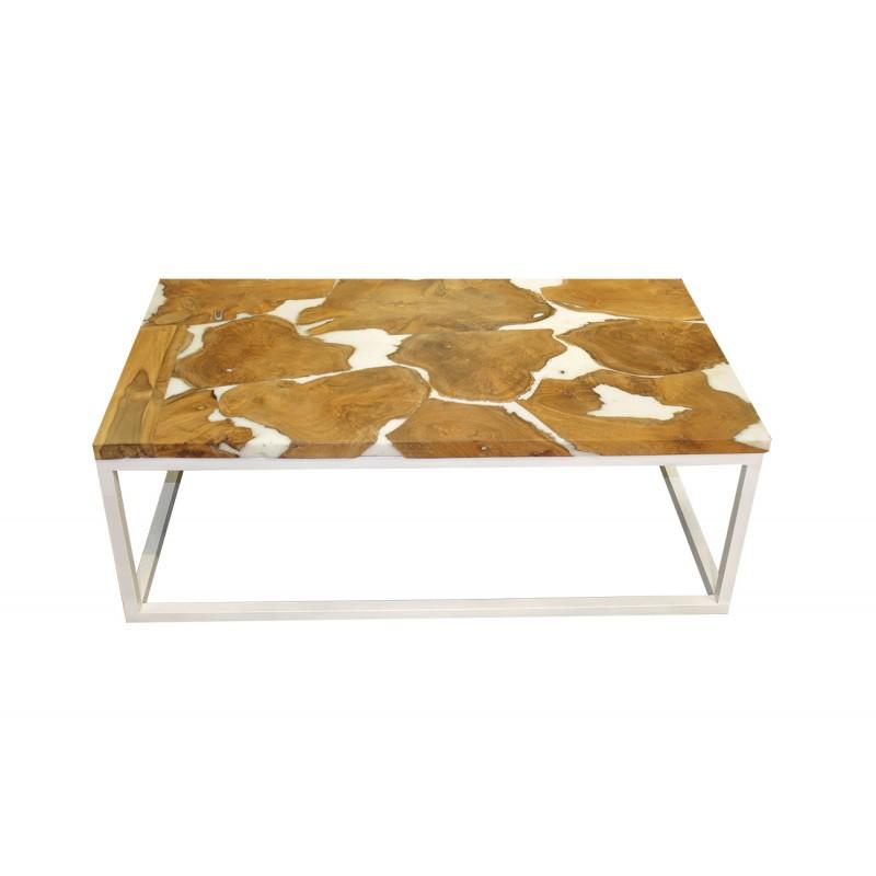 table basse rectangulaire en teck et resine blanche paulette