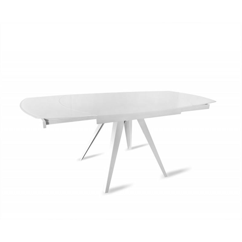 table en verre blanc extensible 120 180 cm ovale pieds acier adel