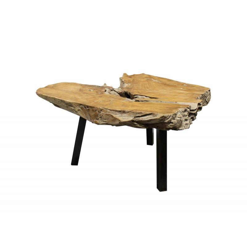 table basse racine de teck et pieds metal noir padang