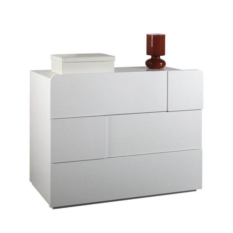 commode 3 tiroirs meuble blanc laque cloud