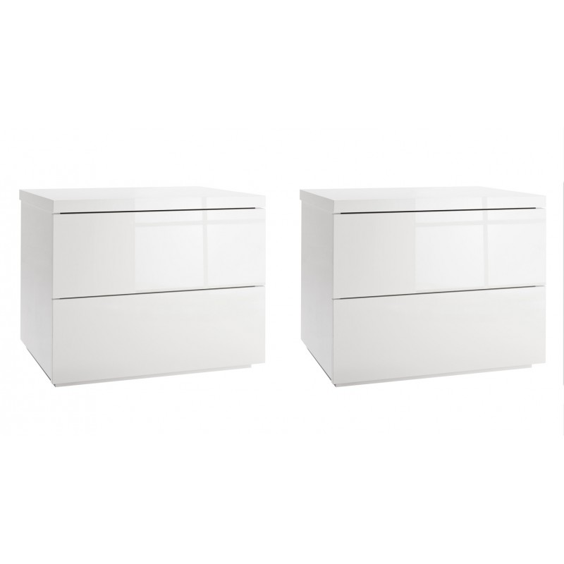 lot de 2 tables de chevet 2 tiroirs blanc laque brillant chambre