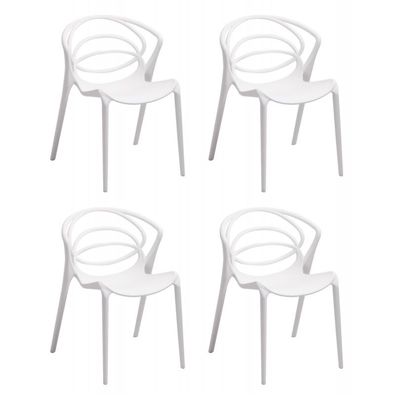 lot 4 chaises de designers confort blanches gina